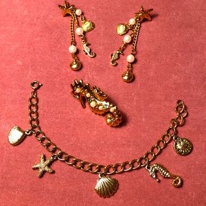 Vintage 3 Pc Jewelry Set Underwater Sea Creatures